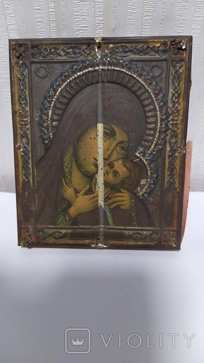 Икона. Божья Мать. 13,5 на 11 см., фото №3