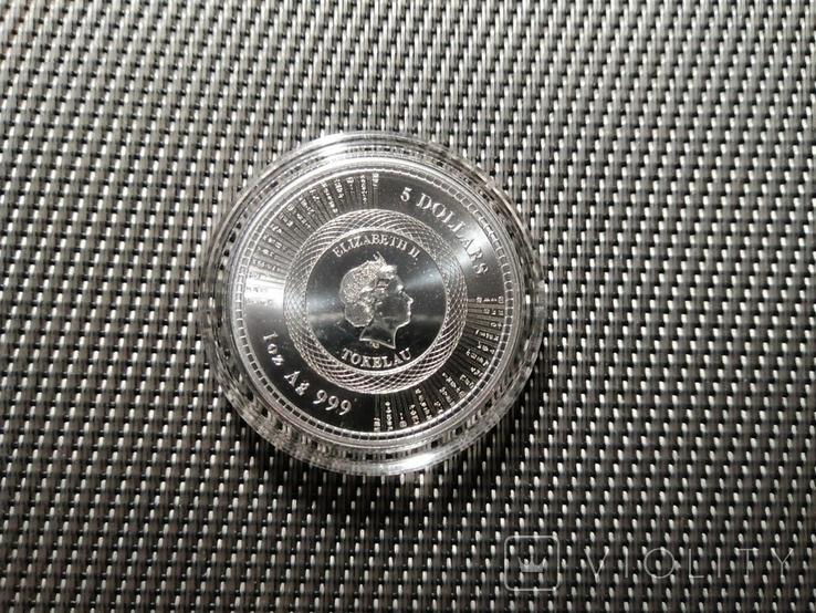 Токелау - 5 новозеландских долларов Vivat Humanitas 2020-1 унция серебра, фото №7