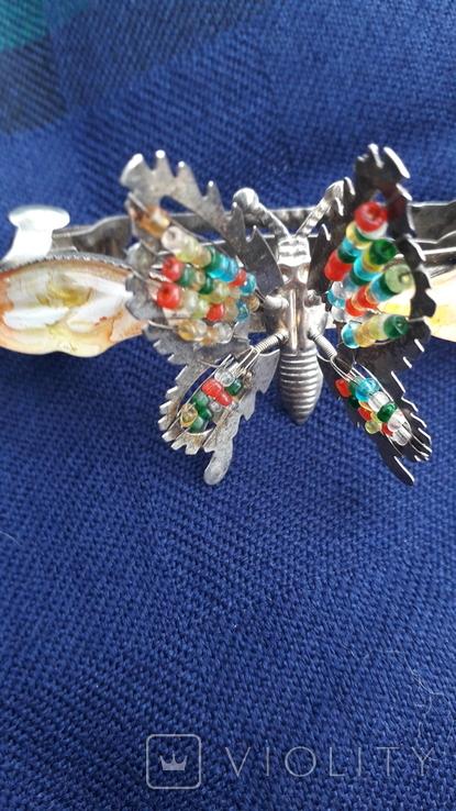 Вінтажна заколка з рухливим метеликом, фото №3