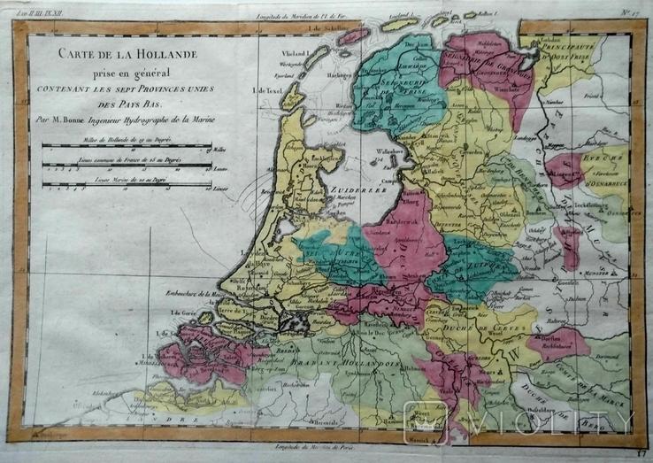 1780 Голландия, Бонне (карта 24х36 Верже) СерияАнтик