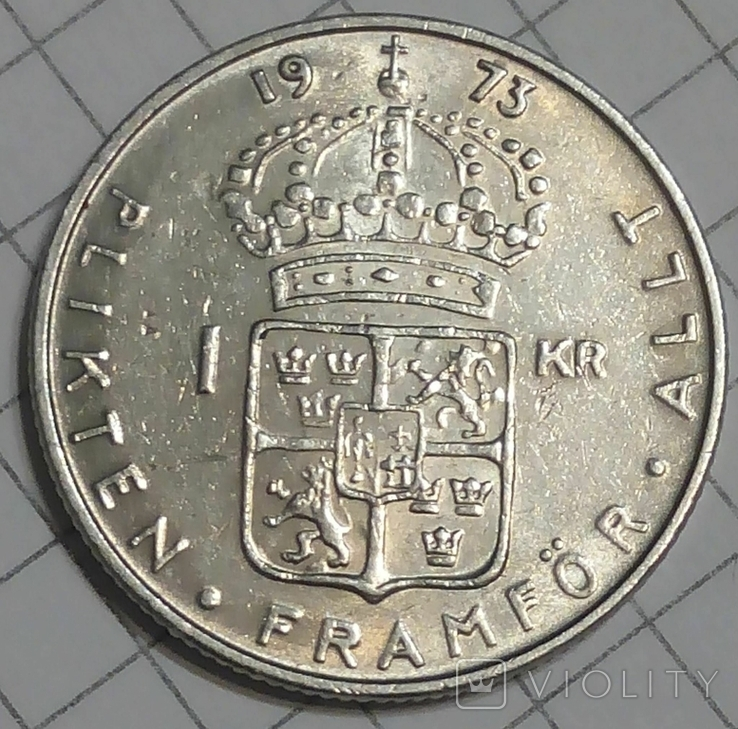 Швеция 1 крона 1973, фото №2
