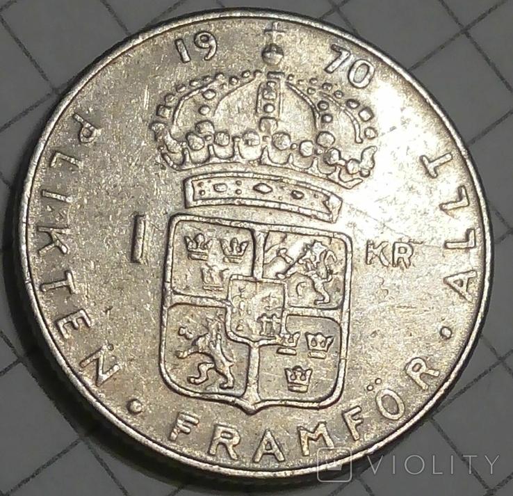 Швеция 1 крона 1970, фото №2