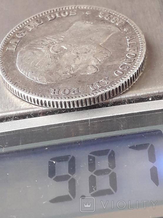 2 песеты, Испания, 1882 год, Альфонсо XII, серебро, 0.835, 10 грамм, фото №4