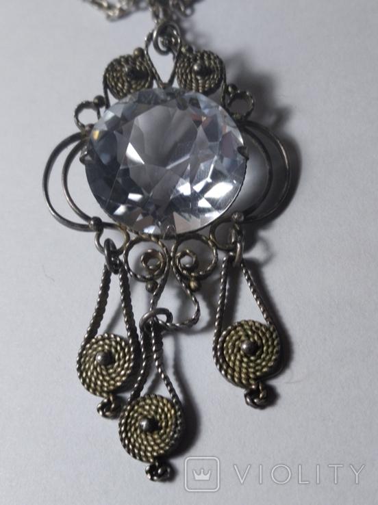 Кулон с горным хрусталём и серебряной цепочкой, фото №3