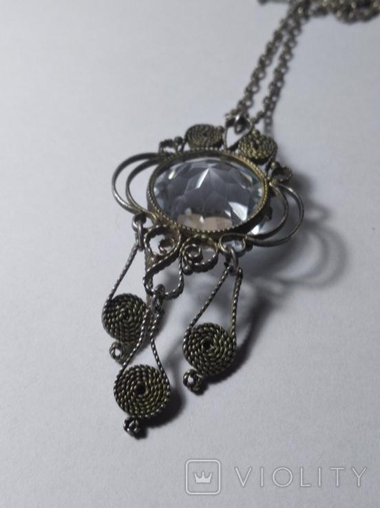 Кулон с горным хрусталём и серебряной цепочкой, фото №4