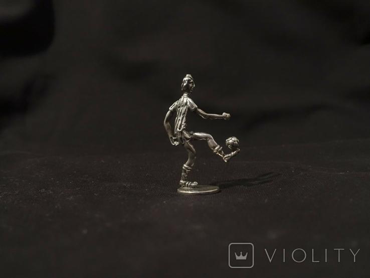 Футболист серебро 800 вес 12 гг., высота 5 см., фото №3