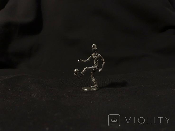 Футболист серебро 800 вес 12 гг., высота 5 см., фото №5
