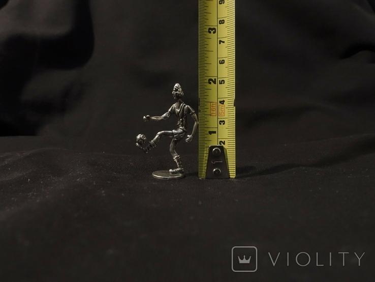 Футболист серебро 800 вес 12 гг., высота 5 см., фото №7
