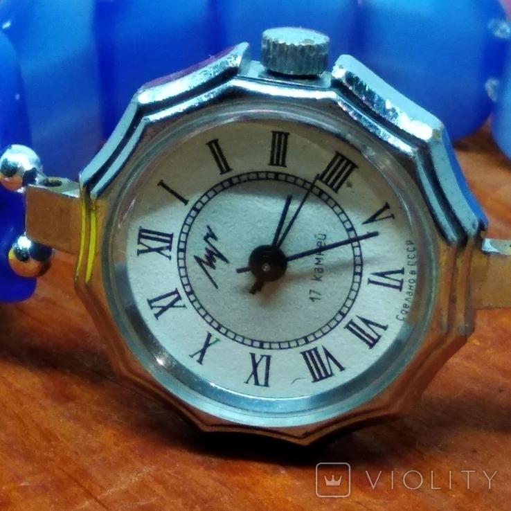 """Часы наручные женские """"Луч"""" с браслетом из"""" улексита"""", фото №6"""