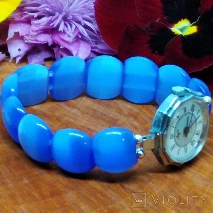 """Часы наручные женские """"Луч"""" с браслетом из"""" улексита"""", фото №9"""