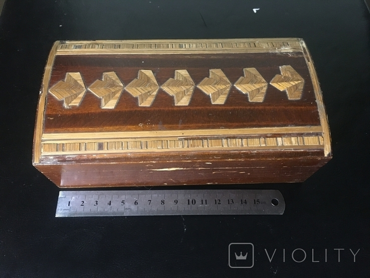 Деревянная шкатулка с шпоном, фото №3