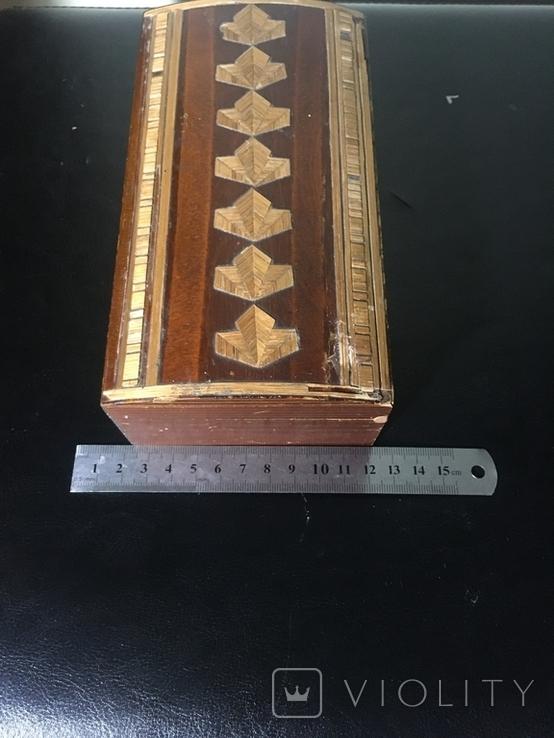 Деревянная шкатулка с шпоном, фото №4
