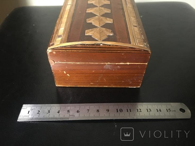 Деревянная шкатулка с шпоном, фото №5