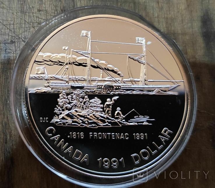 Канада 1 доллар 1991 г. Серебро. Фронтенак. Корабль, фото №2