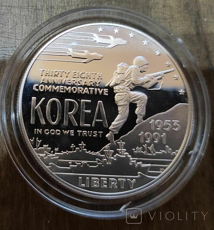 США 1 доллар 1991 г. Серебро. 38-летие окончания войны в Корее. Пруф, фото №2