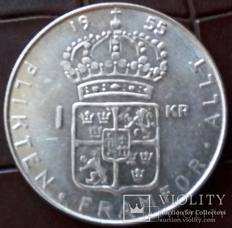 1 КРОНА 1955 Швеція /срібло/, фото №3