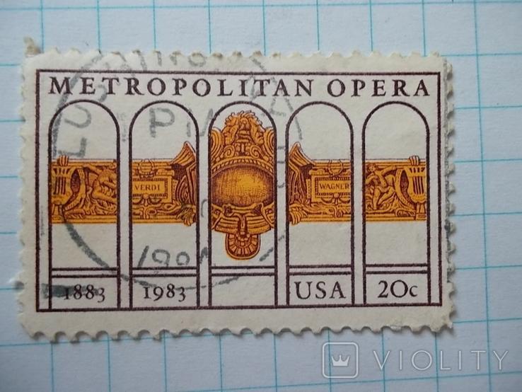 Марка.США.1983 Метрополитен-опера, фото №2