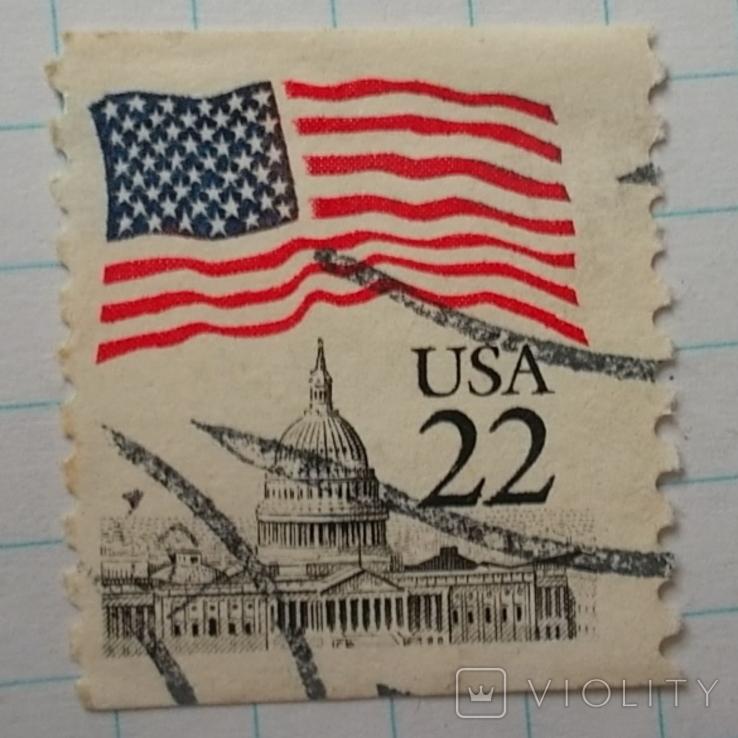 Марка.США.1985-1987 Флаг над Капитолием, фото №4