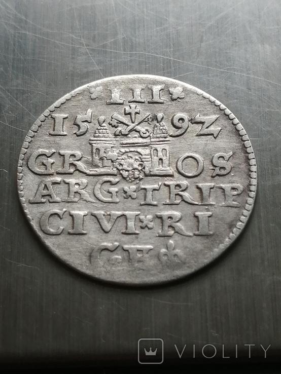 Трояк Рига, 1592року. Срiбло, (Аg) 2.32 грамма., фото №9