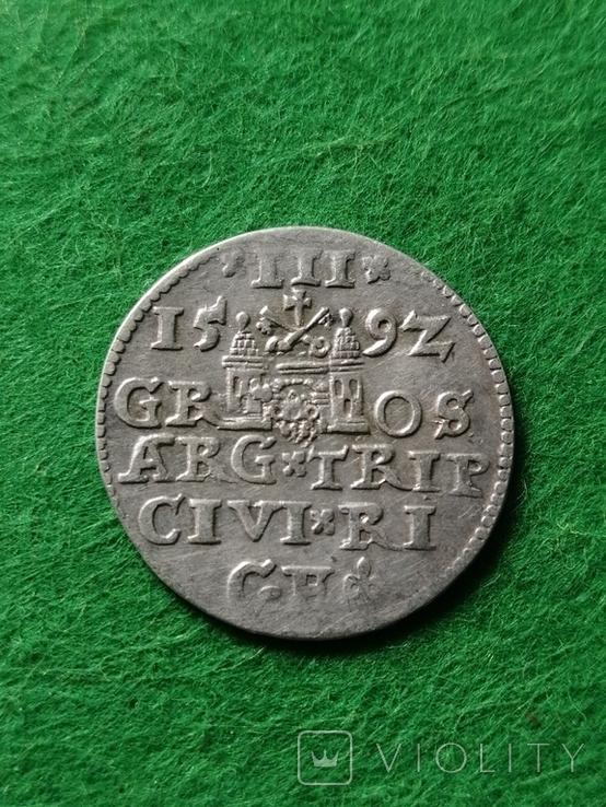 Трояк Рига, 1592року. Срiбло, (Аg) 2.32 грамма., фото №10