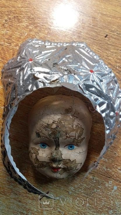 Лицо от ватной фигуры снегурочки, опилки, фото №2