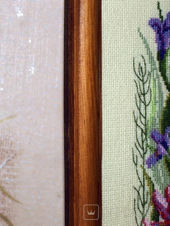 Картина Ирисы и стрекоза, ручная вышивка крестом, фото №4