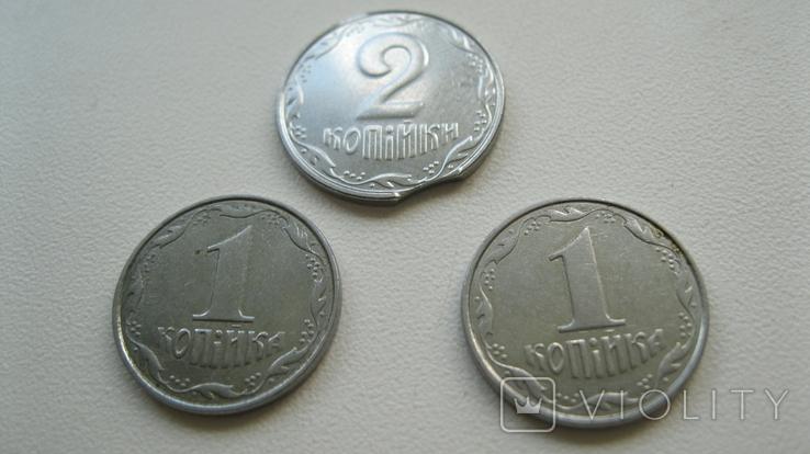 """Монеты 1 копейка 2004 год 1.1 ВА + монета 2 копейки с браком """"выкус"""", фото №4"""