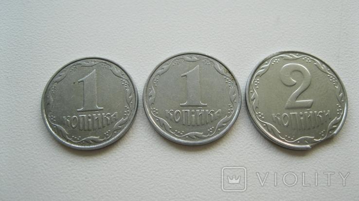 """Монеты 1 копейка 2004 год 1.1 ВА + монета 2 копейки с браком """"выкус"""", фото №5"""