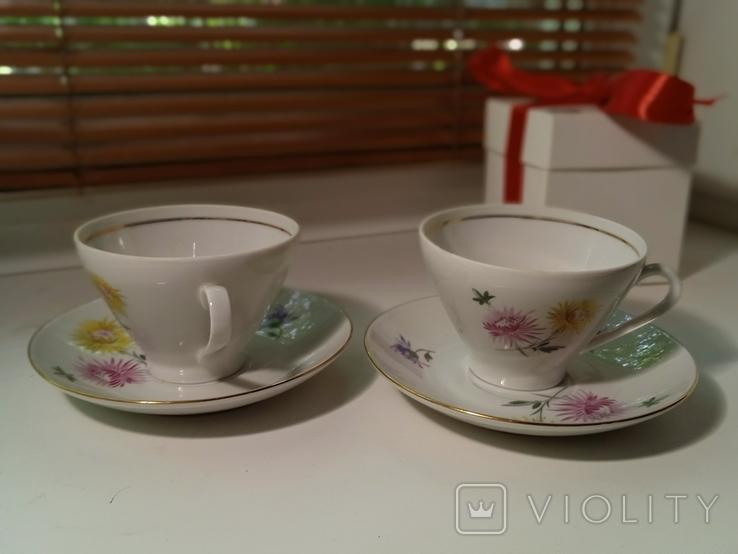Кофейные пара (2/2 чашки, блюдца). Костяной фарфор. Германия GDR, фото №3
