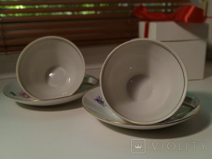 Кофейные пара (2/2 чашки, блюдца). Костяной фарфор. Германия GDR, фото №6