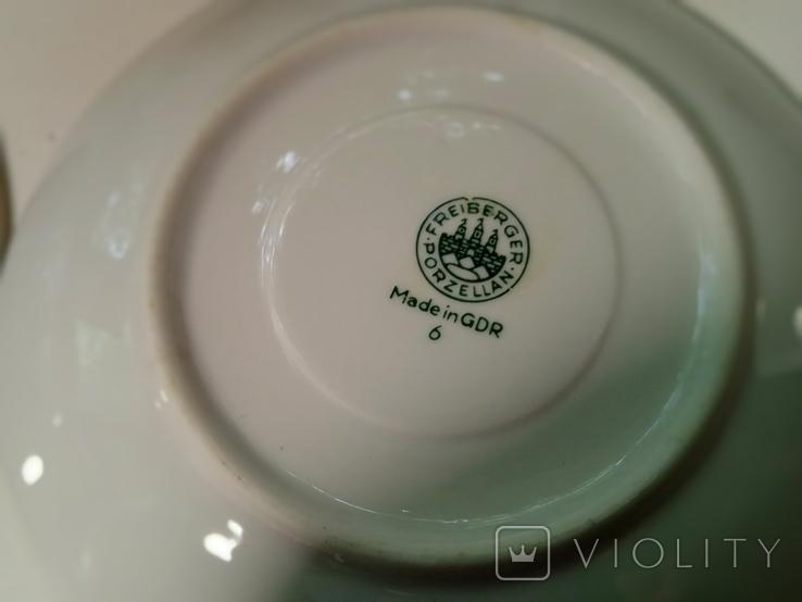 Кофейные пара (2/2 чашки, блюдца). Костяной фарфор. Германия GDR, фото №9