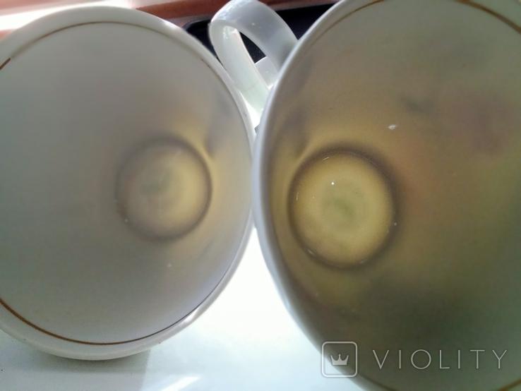 Кофейные пара (2/2 чашки, блюдца). Костяной фарфор. Германия GDR, фото №12