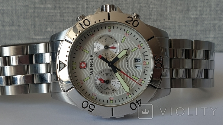 Мужские часы Wenger 7085x AquaGraph Chrono 41mm 200m Swiss Made, фото №2