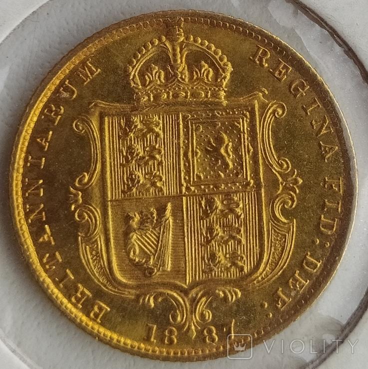 1/2 фунта Великобританія (напівсуверен) Королева Вікторія-1887року, фото №5