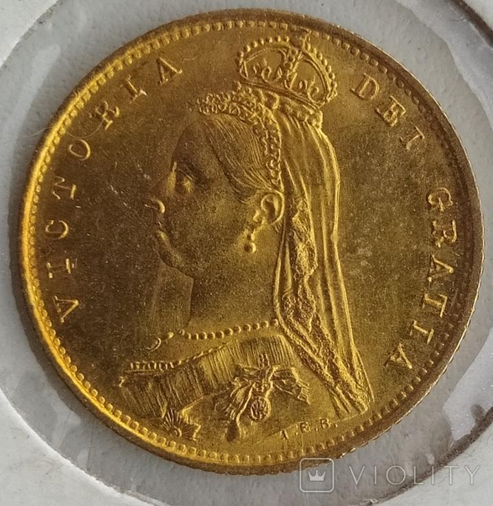 1/2 фунта Великобританія (напівсуверен) Королева Вікторія-1887року, фото №3