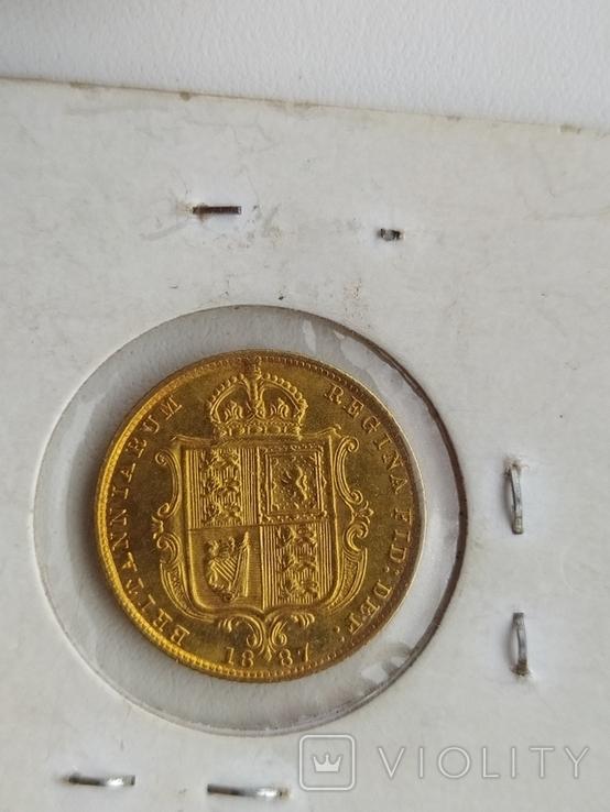 1/2 фунта Великобританія (напівсуверен) Королева Вікторія-1887року, фото №7