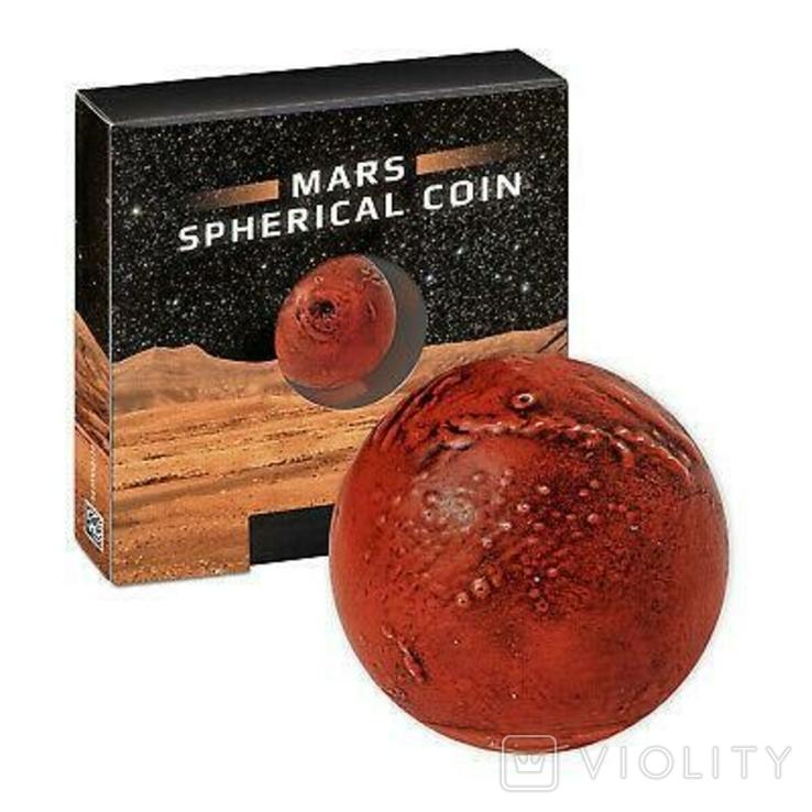 В наличии / Марс сферическая монета 1 Oz. 5 Барбадос 2021 SPHERICAL MARS 3D Planet 1 унция, фото №8