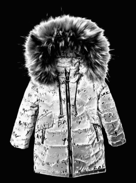 Зимове пальто з світловідбиваючої рефлективної тканини Bebi chervona 98 зріст 1044b98, фото №3