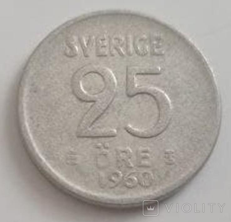 Швеция 25 эре, 1960 (лот 493), фото №2