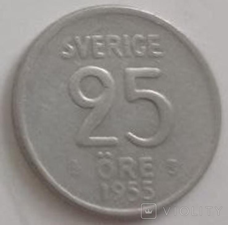 Швеция 25 эре, 1955 (лот 494), фото №2