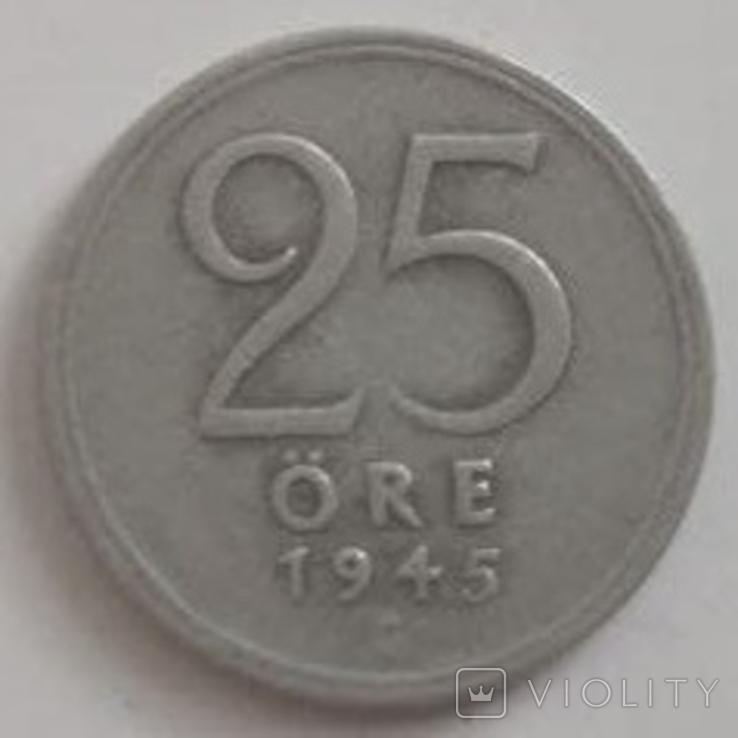 Швеция 25 эре, 1945 (лот 495), фото №2