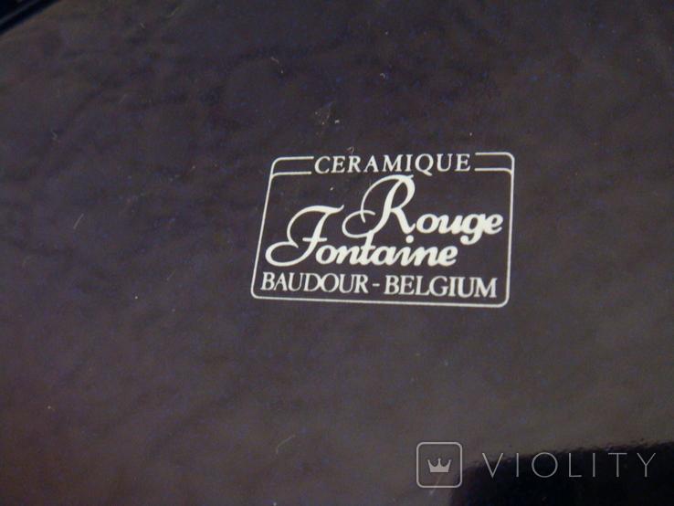 Пепельница большая, керамика Rouge Fontaine baudour Бельгия, реклама пива, фото №7