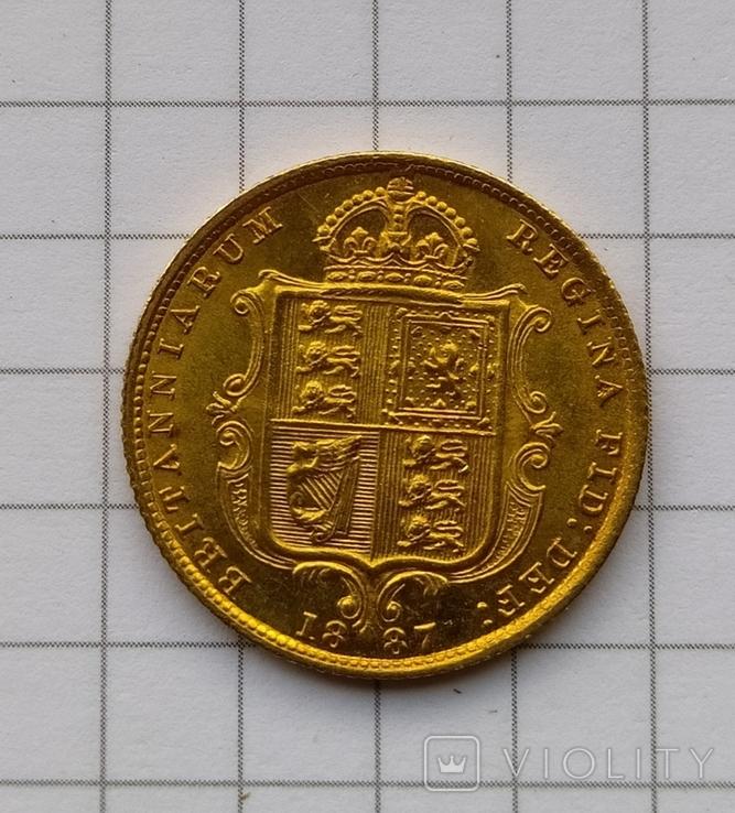 1/2 фунта Великобританія (напівсуверен) Королева Вікторія-1887року, фото №11