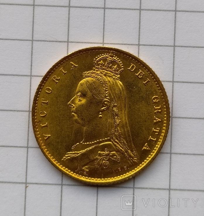 1/2 фунта Великобританія (напівсуверен) Королева Вікторія-1887року, фото №12