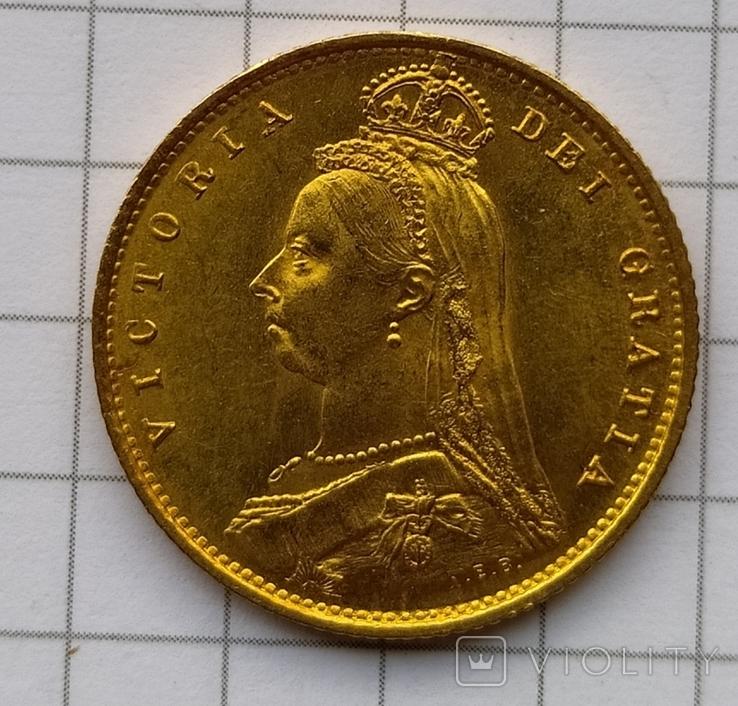 1/2 фунта Великобританія (напівсуверен) Королева Вікторія-1887року, фото №2
