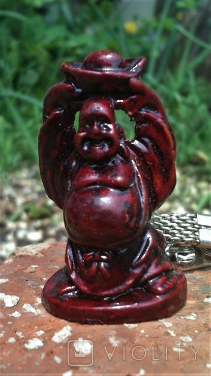 Брелок Маленький Фэншуй Будда Монах держит чашу над головой, фото №3