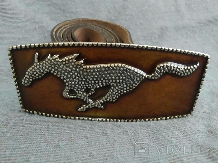 Ремень сделан в Англии Мустанг Пояс кожаный ремень River Island, фото №4
