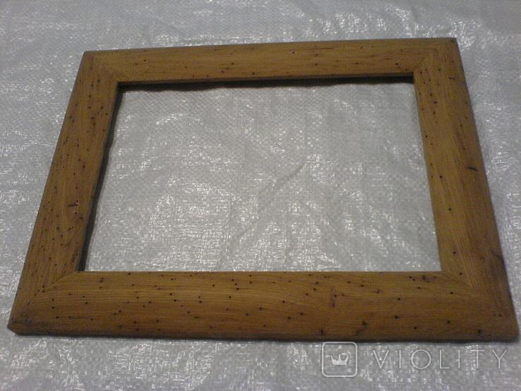 Рамка и под картину под старину (шашелем побитая) з натурального дуба формат А4, фото №2