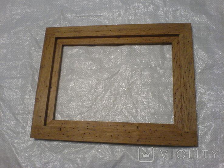 Рамка и под картину под старину (шашелем побитая) з натурального дуба формат А4, фото №6