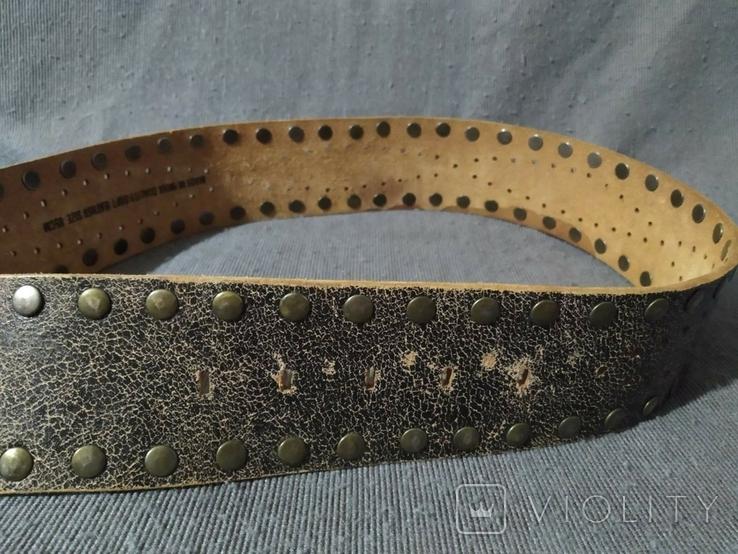 Большой широкий кожаный ремень Индия пояс кожа, фото №5